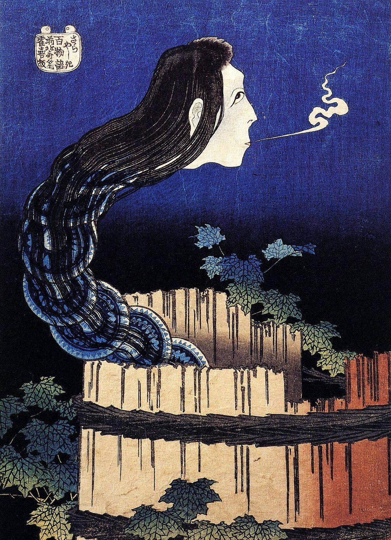 Hokusai print of Okiku from Sara Yashiki
