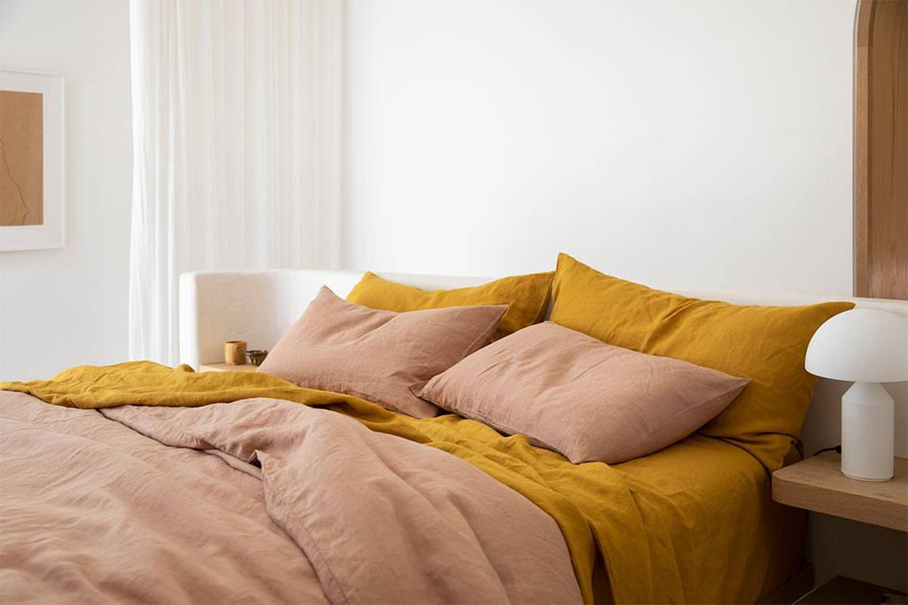 Linen Sheet Set Mustard, Linen Duvet Set Fawn