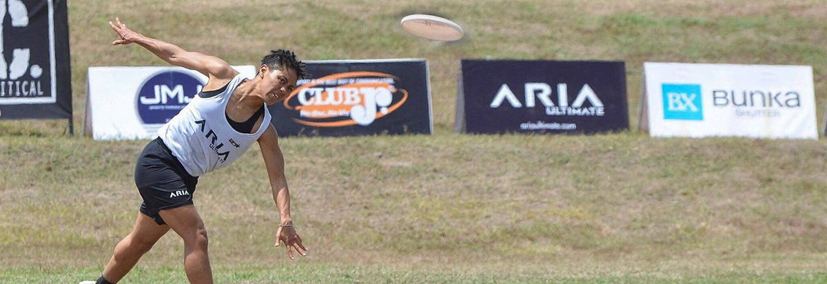 ARIA professional official ultimate flying disc for the sport commonly known as 'ultimate frisbee'  Opi octavia payne pulling an aria discs at a tournament