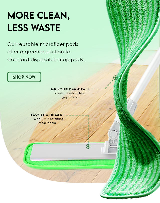 Turbo Mops offer microfiber mop pads that are reusable and washable