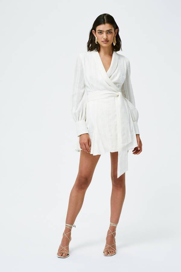 Galvan London Long Sleeve Wrap Mini White Dress