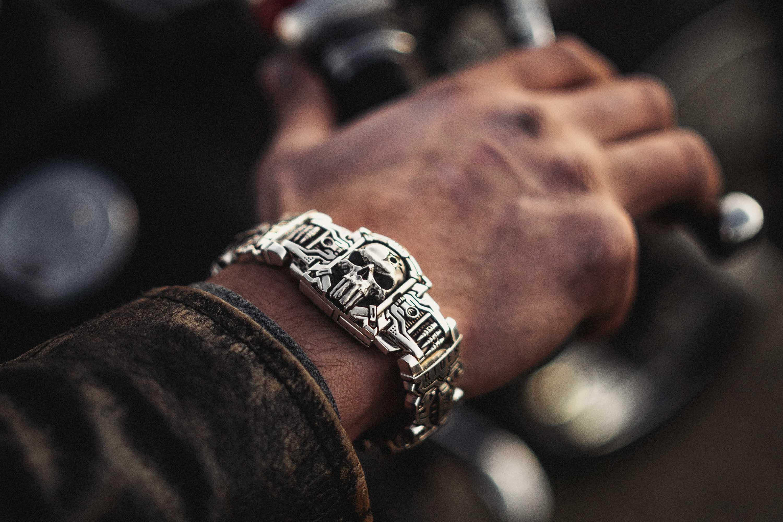 Sheepdog Interlock Bracelet on a man's wrist