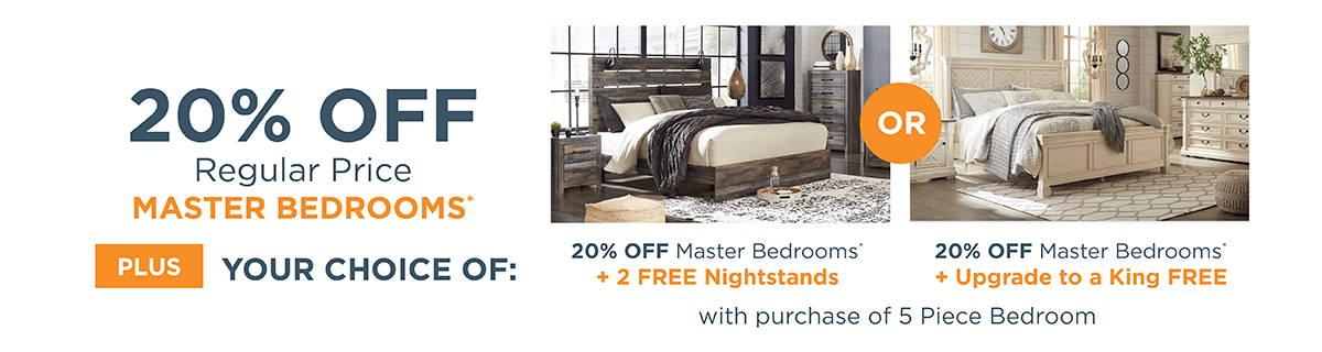 20% off Regular Price Master Bedrooms