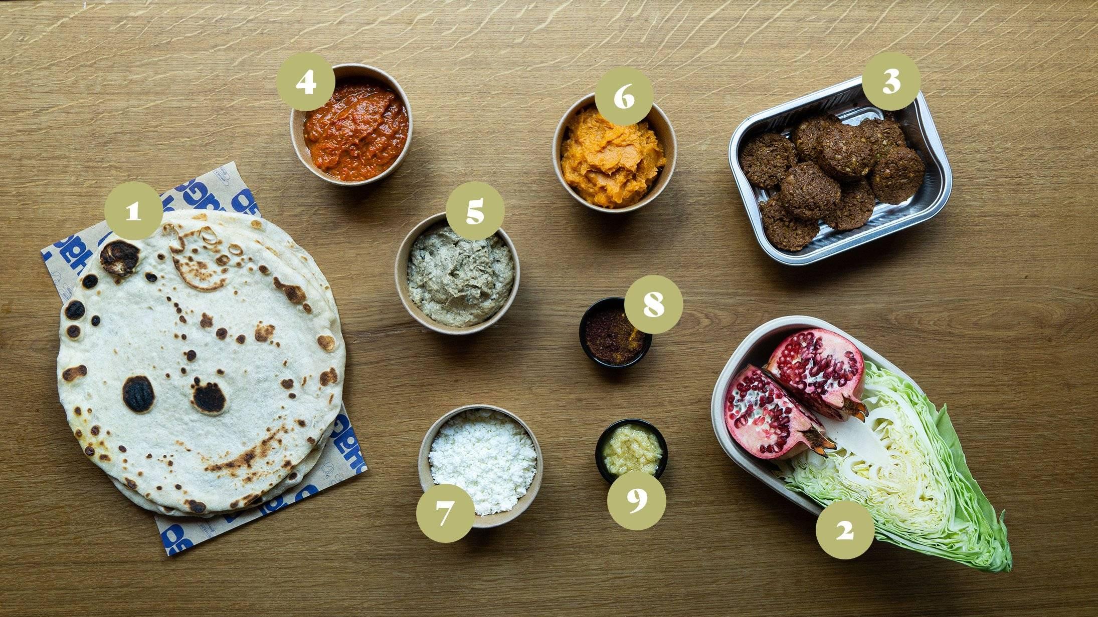 Opskrifter og vejledning til Surdejs fladbrød med falafel, romesco, baba ganoush,  mos af sød kartoffel, citronvinaigrette og sprødt grønt.