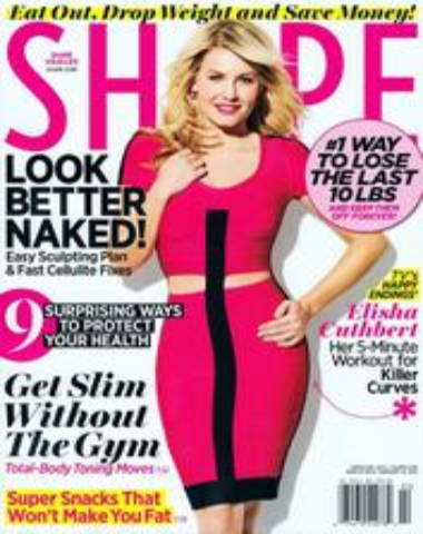 Shape magazine cover with woman standing in pink dress and blonde hair