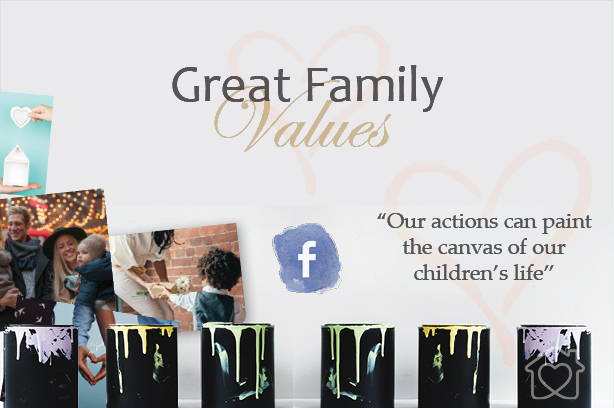 great family value banner with paint buckets and images of families having fun