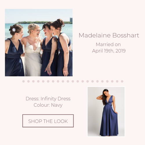 navy blue infinity bridal party real wedding