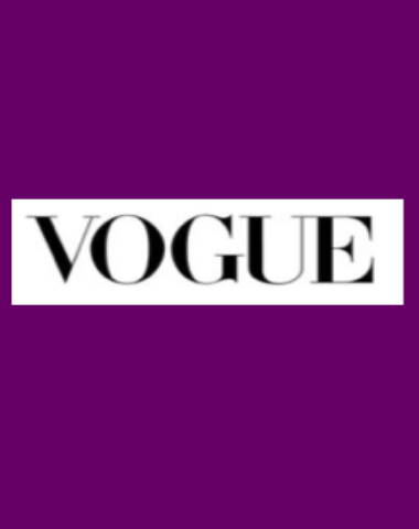 Purple rectangle icon with Vogue logo in center