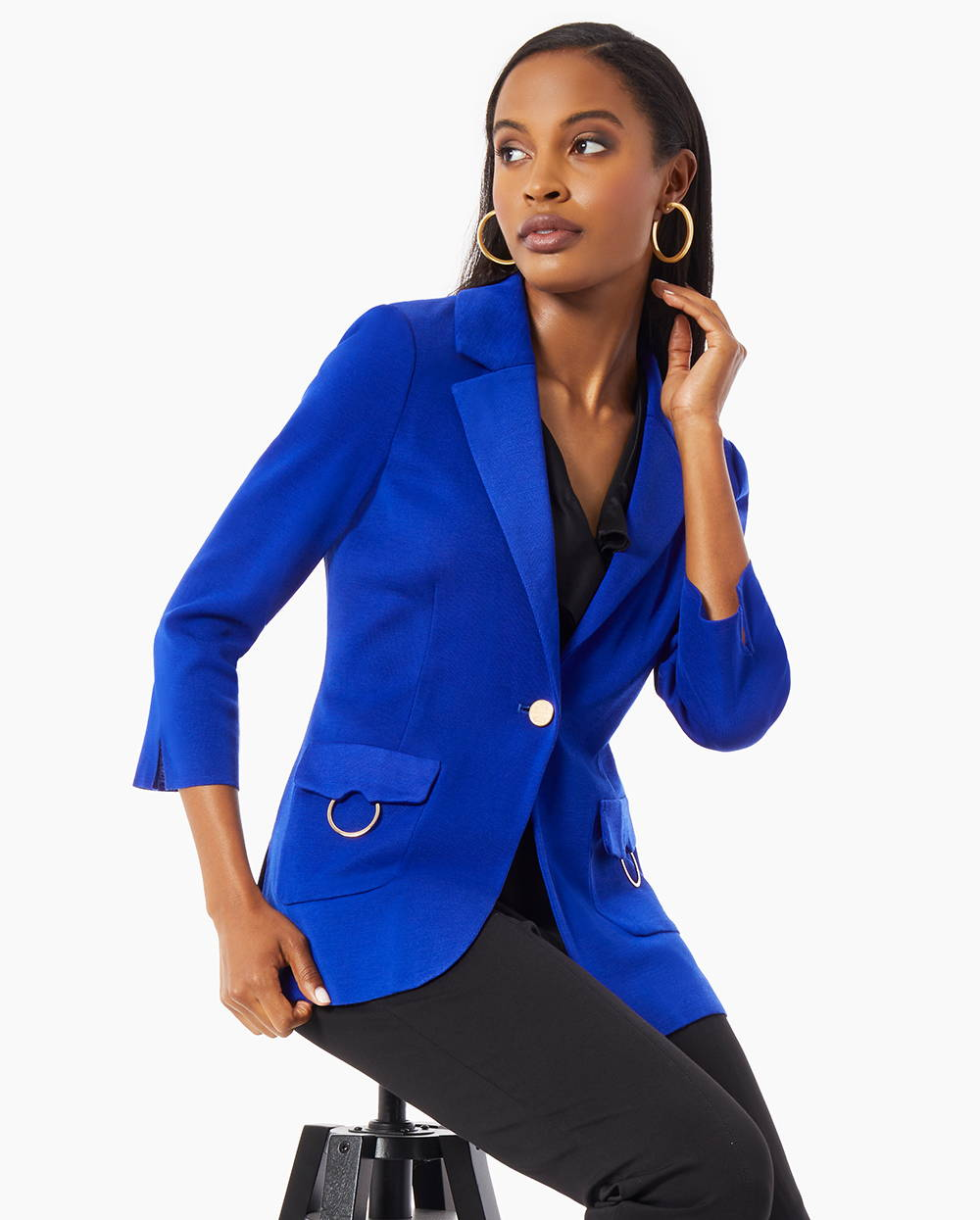 Essentials by MISOOK   Featuring the Patch Pocket Knit Jacket in Blue Flame