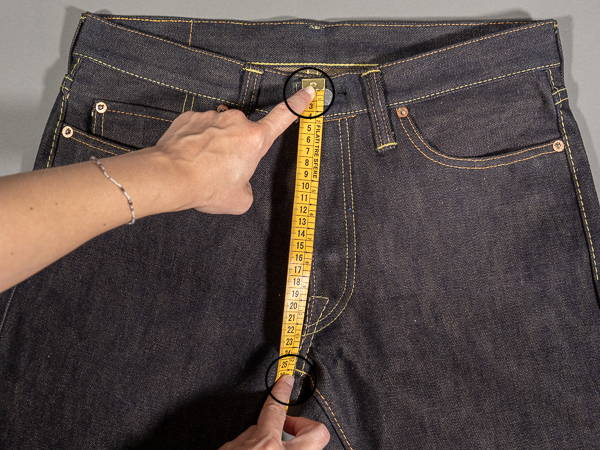 how to measure a jeans front rise
