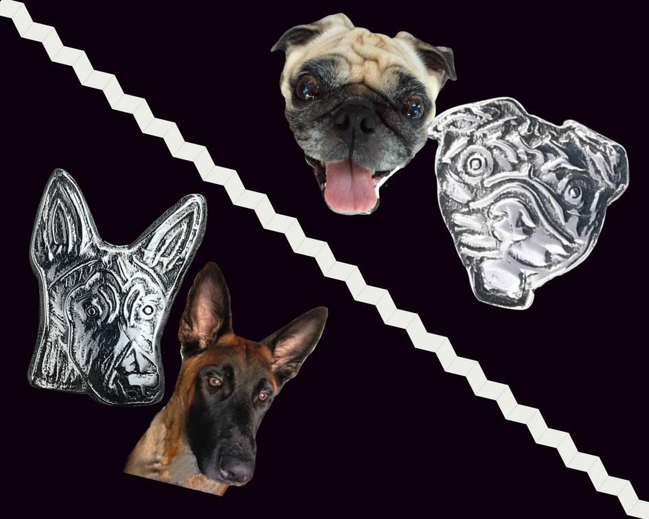 Sterling silver dog head pendants: malinois and pug