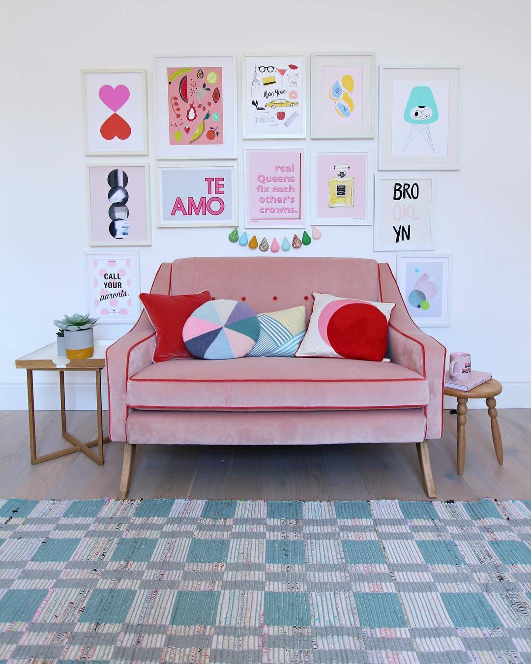colourful pastel gallery wall