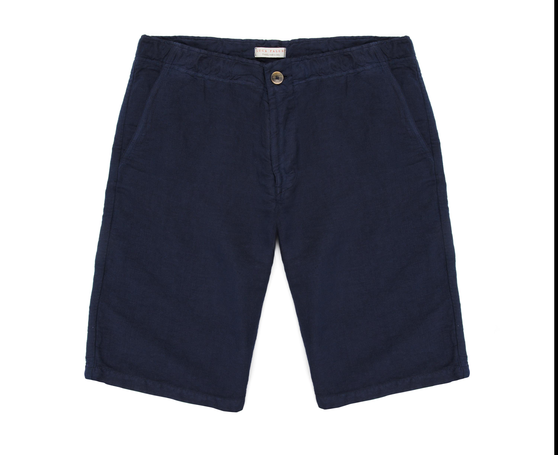Luca Faloni Navy Blue Panarea Linen Shorts Made in Italy