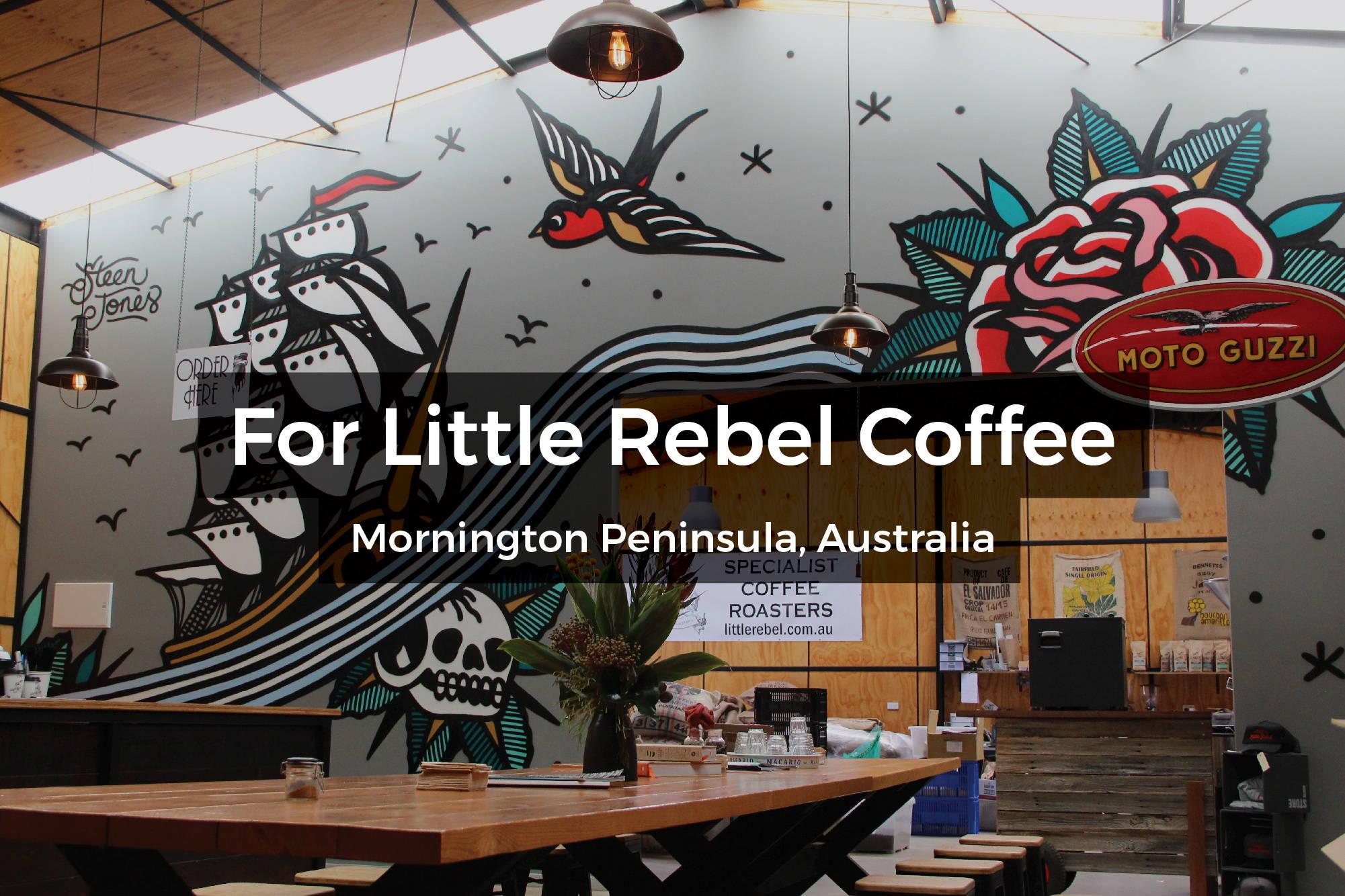 Little Rebel Coffee mural on the Mornington Peninsula, Australia by Steen Jones