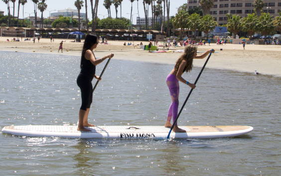 Duo Tandem Board paddling in Marina del Rey