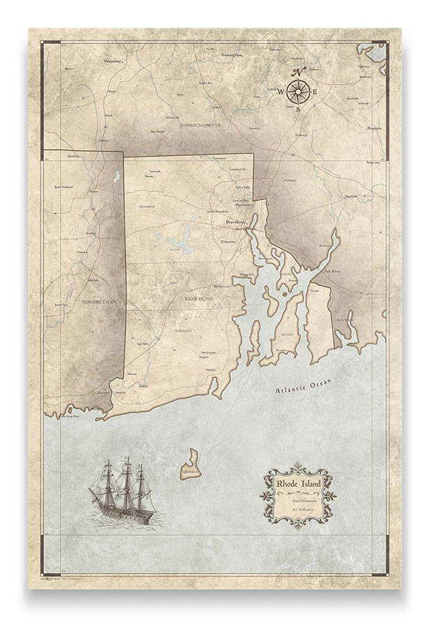 Rhode Island Push pin travel map rustic vintage