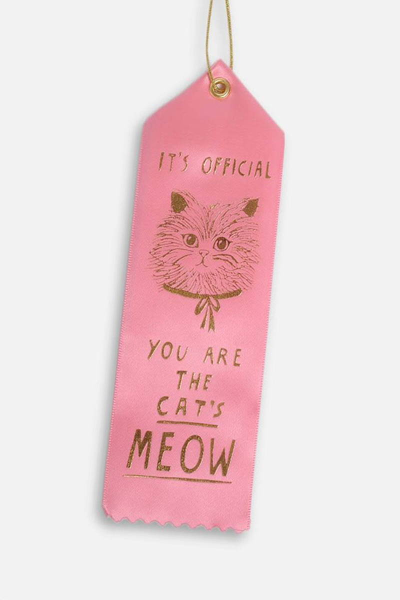 Product photograph of 'Cat's Meow' award ribbon