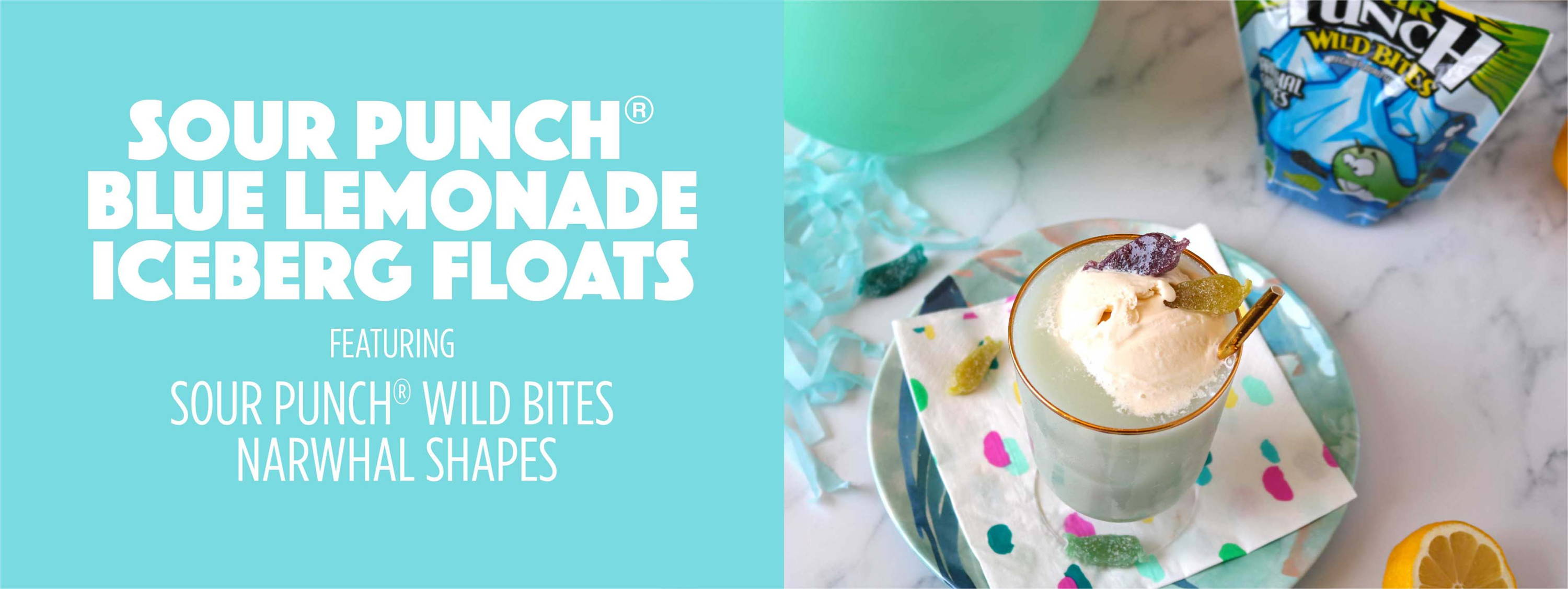 Sour Punch Blue Lemonade Iceberg Floats featuring Sour Punch Wild Bites Narwhal Shapes