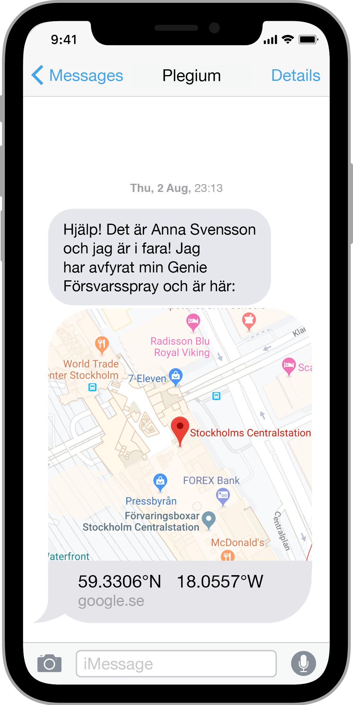 iPhone med nöd-SMS