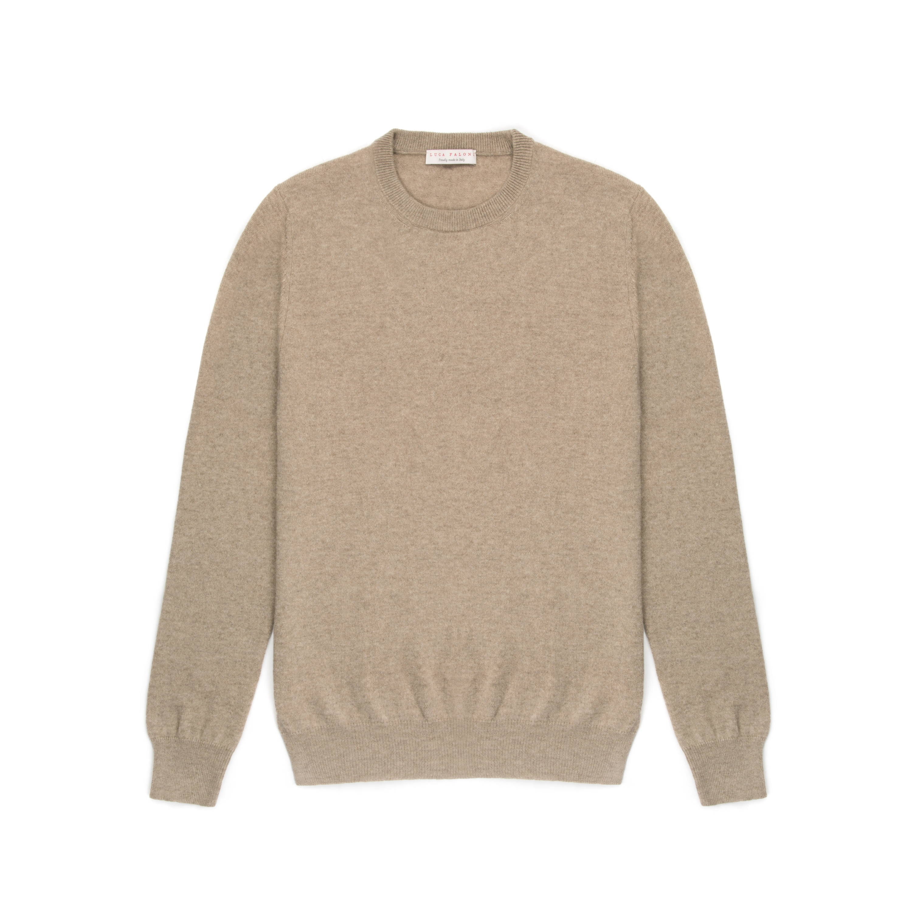Luca Faloni  Camel beige pure Cashmere Crew Neck Sweater Made in Italy