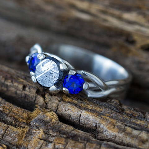Silver Ring With Meteorite Stone