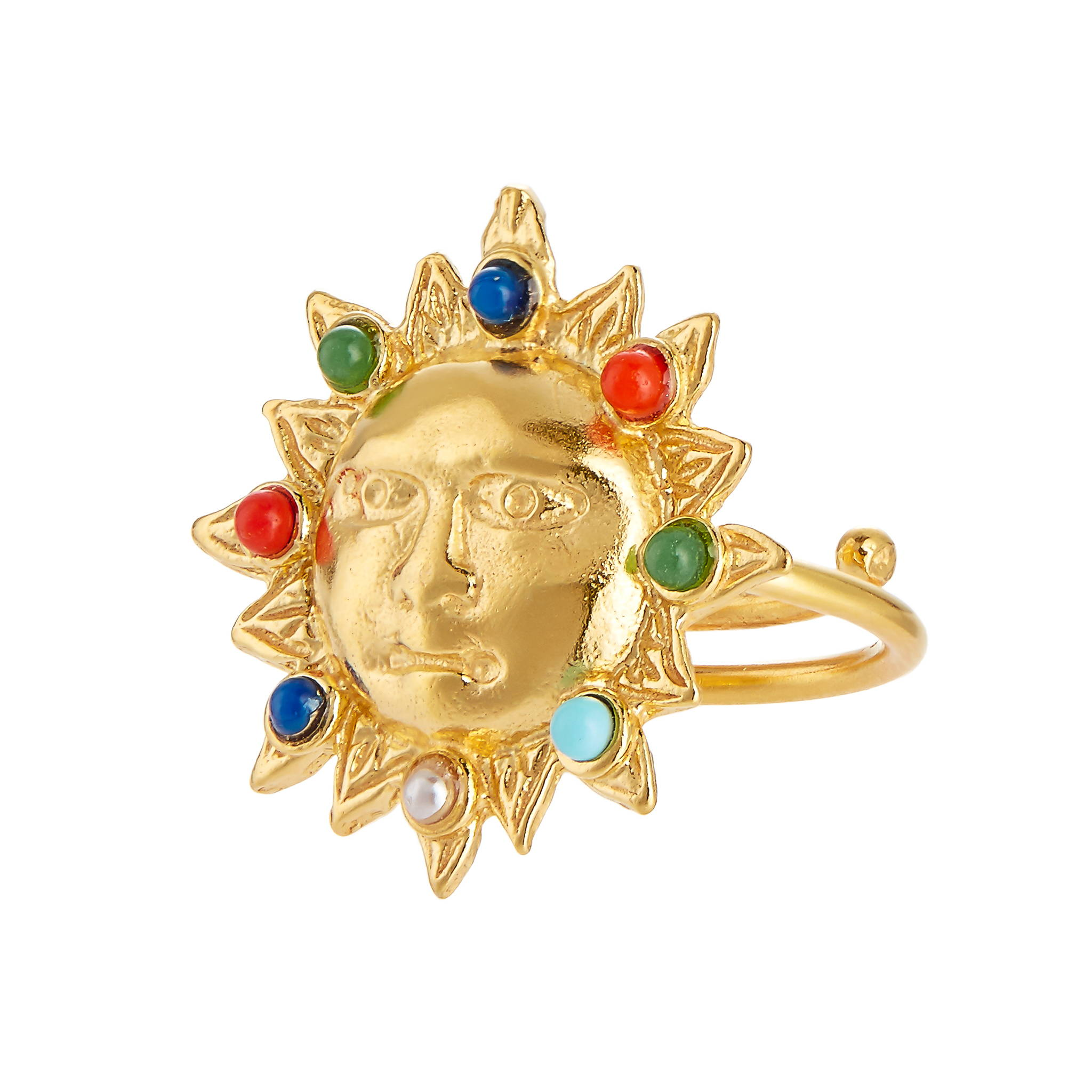 soru jewellery sun ring, gold sun ring coloured stones