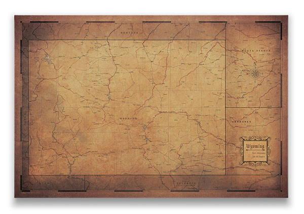 Wyoming Push pin travel map golden aged