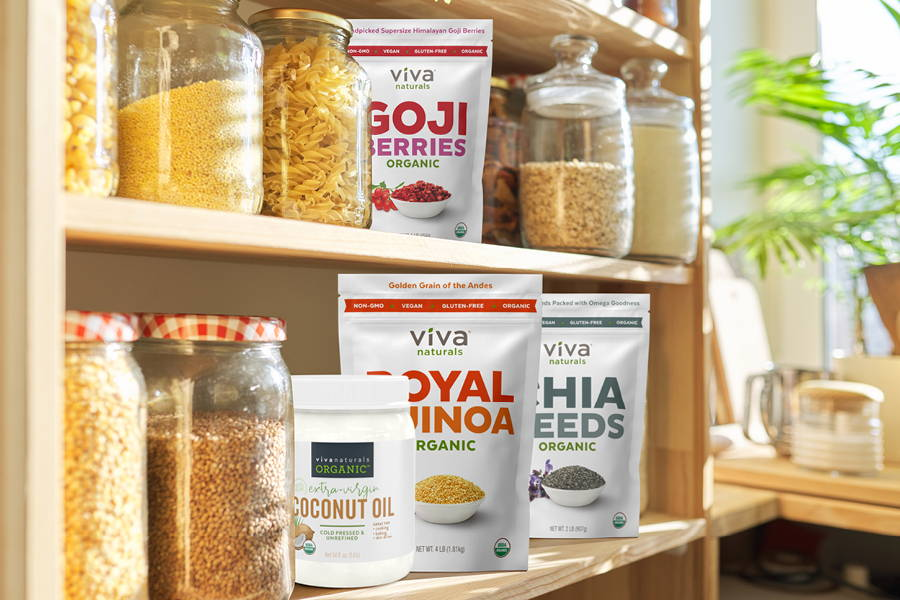 pantry shelves with food cannisters and Viva Naturals food products