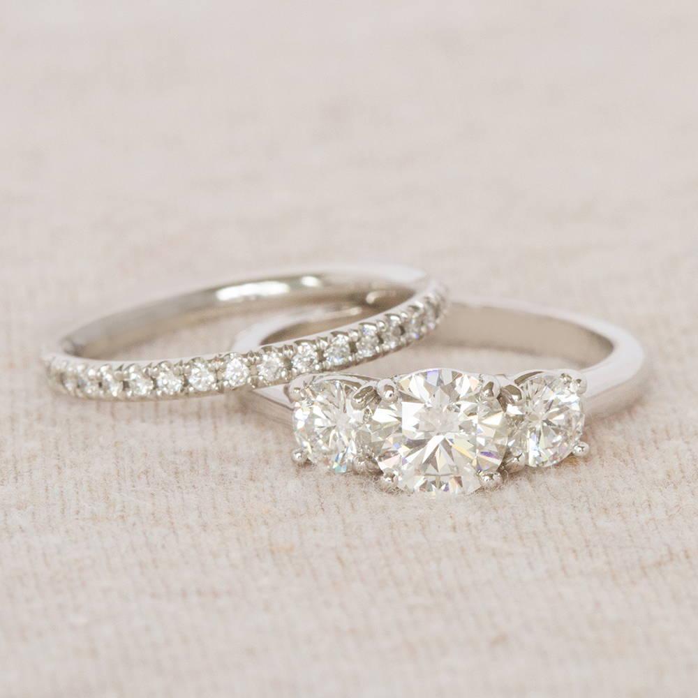 Three-Stone Engagement Ring and Wedding Band