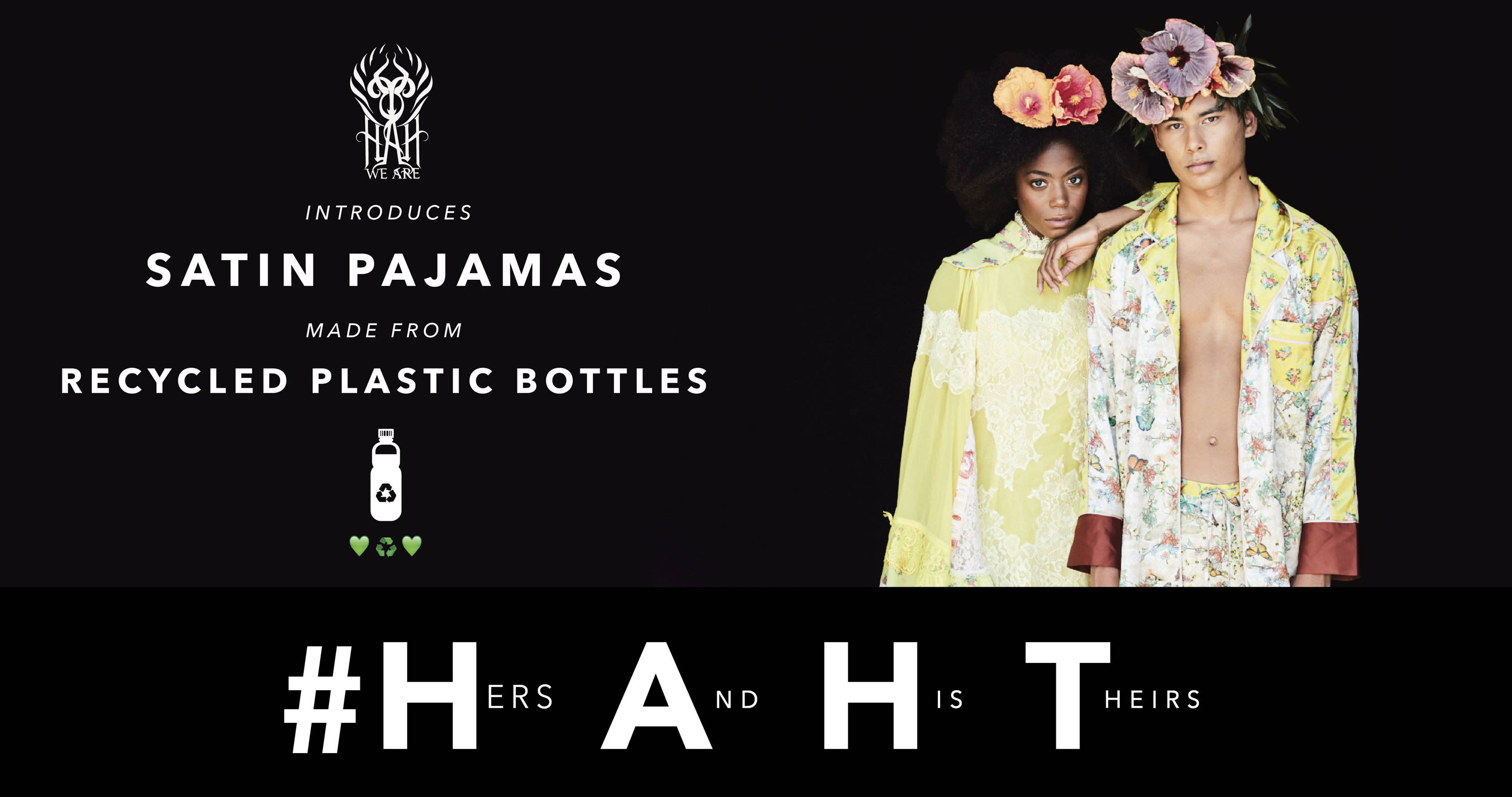 satin pajamas made of recycled plastic bottles we are haht we are hah hot as hell eco friendly pajamas unisex