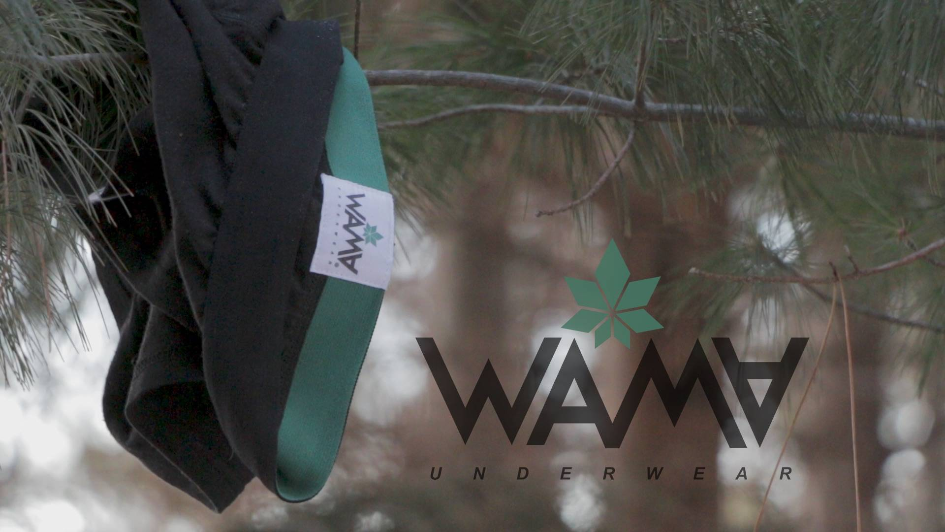 Natural Hemp underwear hung over a pine tree branch with the WAMA Underwear logo overlaid