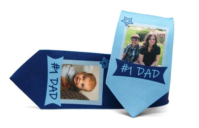 Custom father's day tie with kid's  picture and #1 dad text