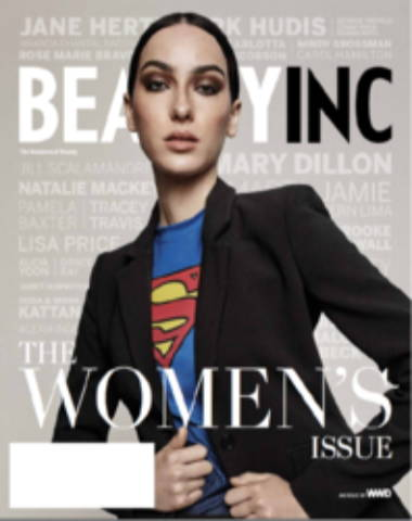 Beauty Inc magazine cover The Women's Issue, model with superman shirt