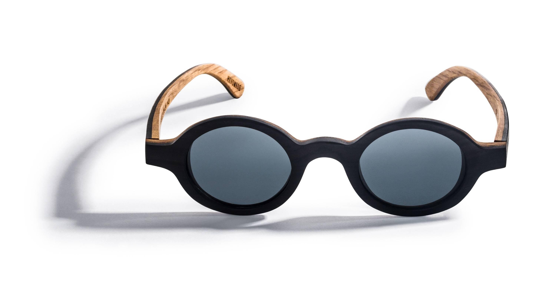 Kraywoods Magnolia, Vintage Round Sunglasses made from Ebony wood with polarized lenses