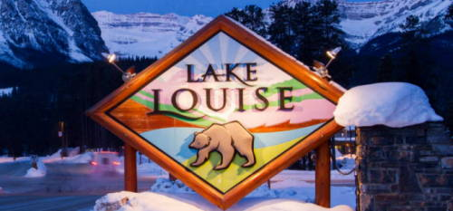 Lake Louise Welcome Sign - Magic Awaiting - Lifetime moments Created Here