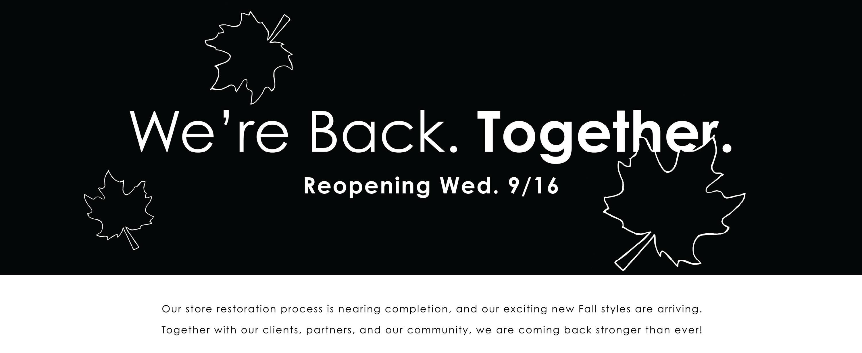 Reopening September 16th