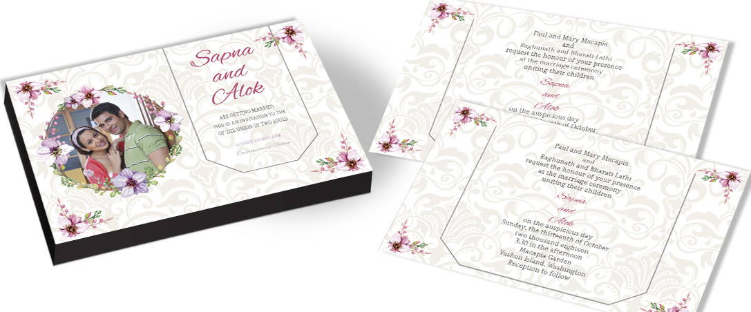 Vintage Wedding Invitation with Floral Theme