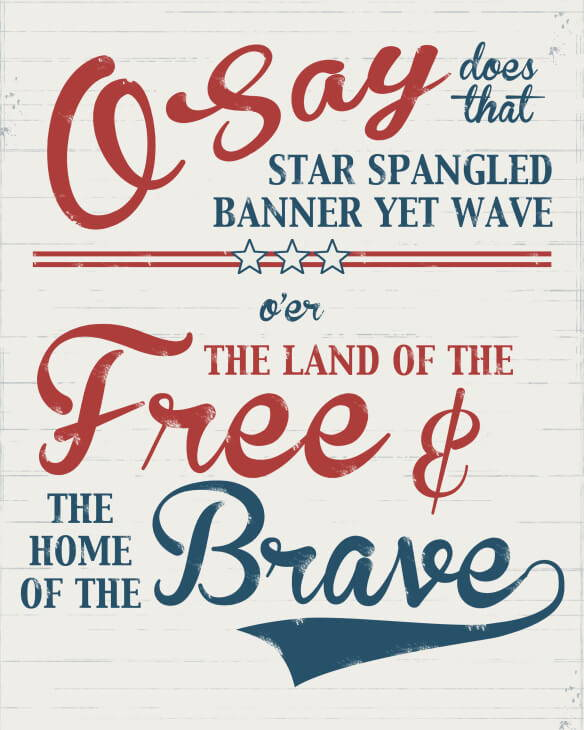 star spangled banner 4th of july quote printable