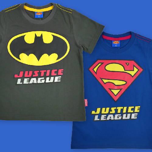 เสื้อยืดเด็กชาย Marvel, Justice League