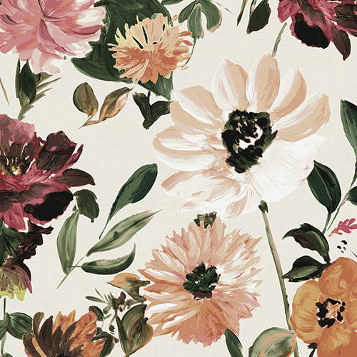 floral theme bedding and decor