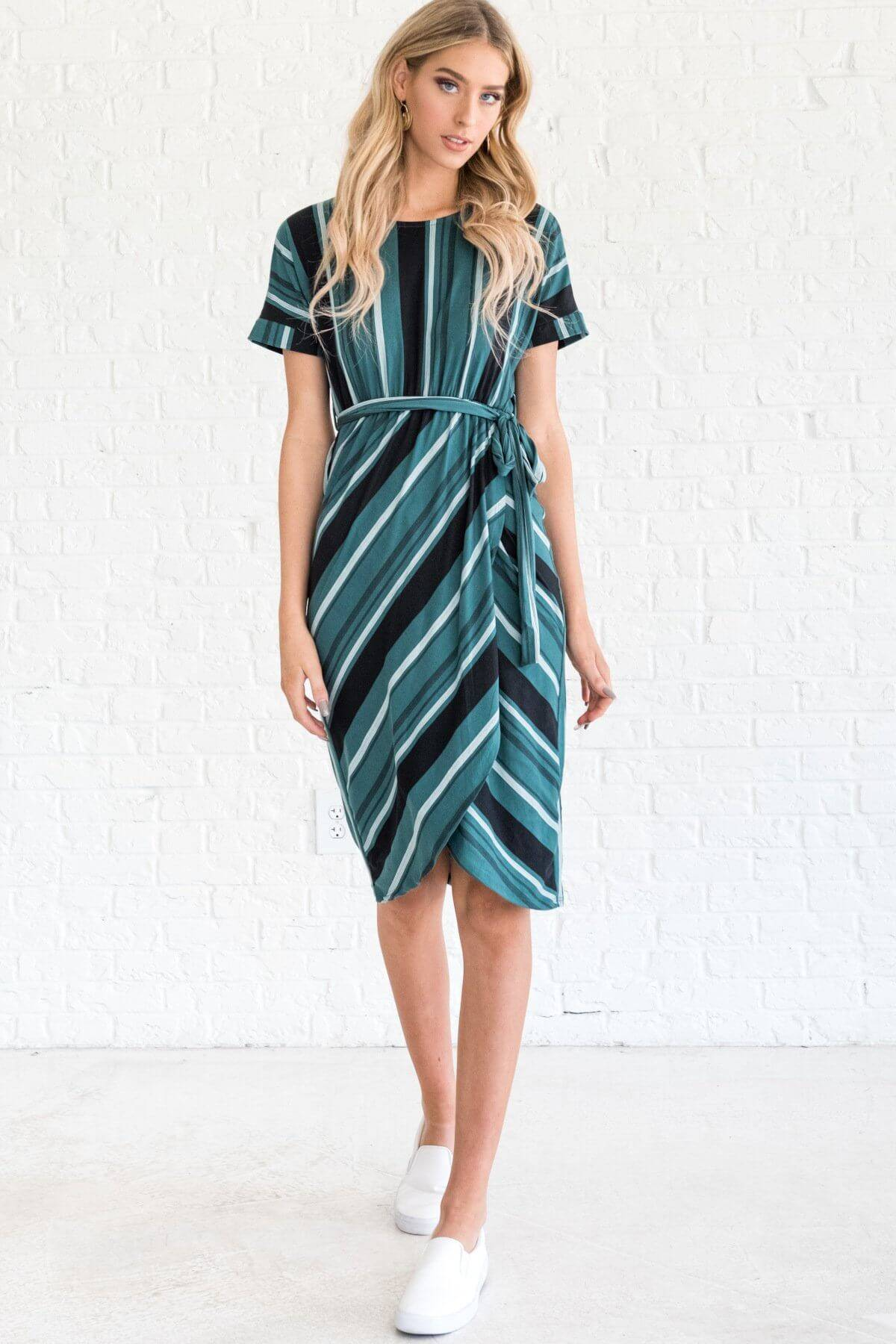 Teal White Black Striped Short Sleeve Knee Length Dresses