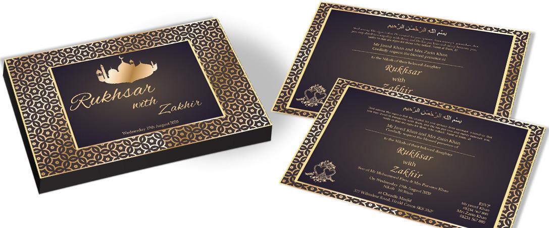Rustic Golden Invitation for Muslim Wedding