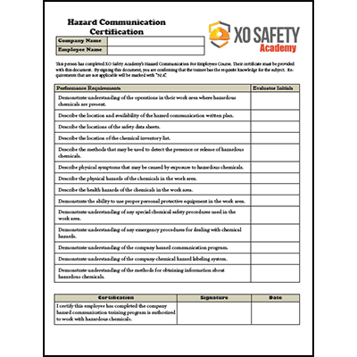Hazard Communication Hands On Training Certification