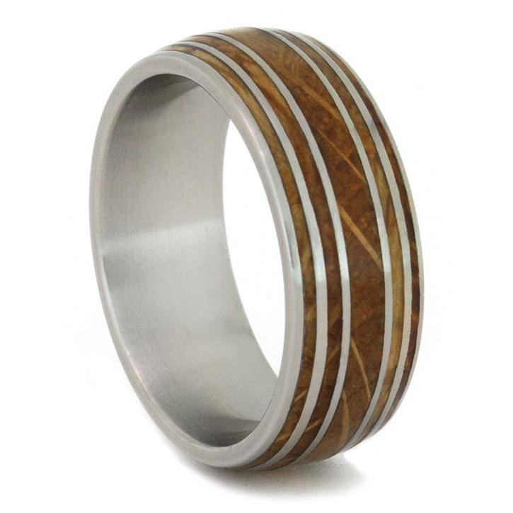 Whiskey Barrel Wood Ring with Pinstripes