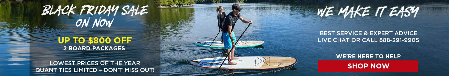 Couple Paddleboarding On Lake | Cruiser SUP Blend Ultra-Lite Wood Carbon  | Holiday Stand Up Paddle Board Sale