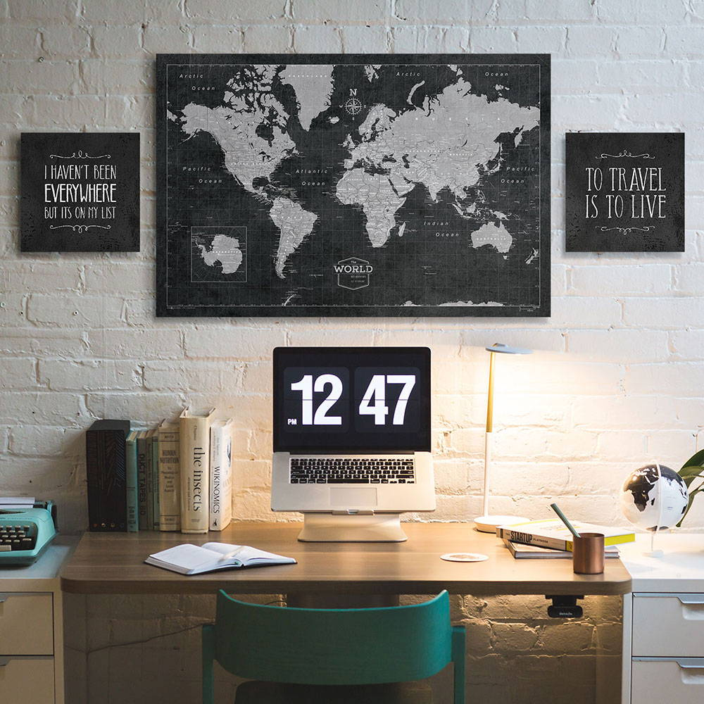 Conquest Maps canvas art with modern slate push pin travel map