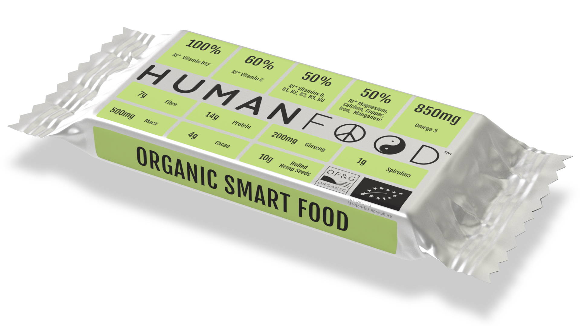 green bar in compostable wrapper