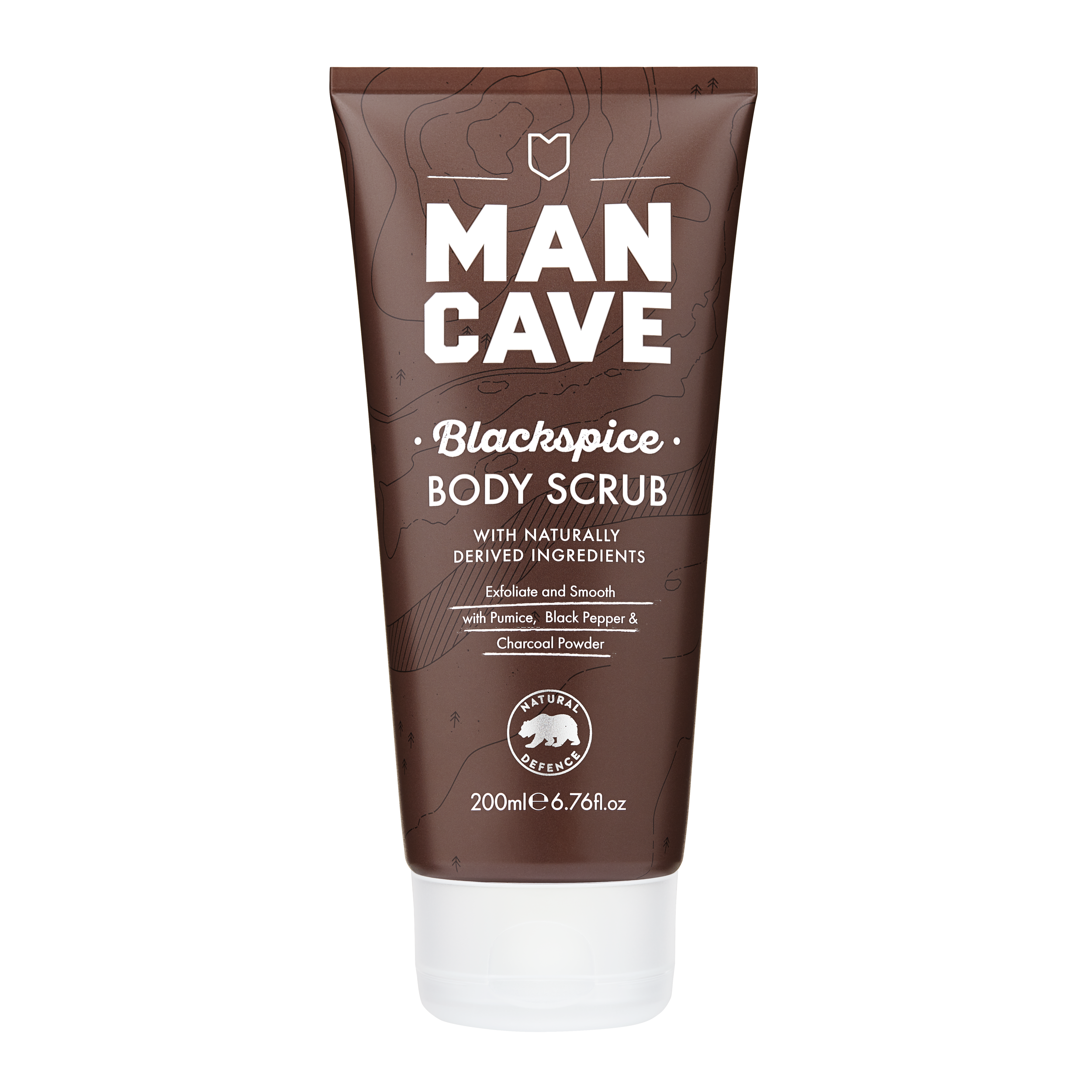 The ManCave Blackspice body scrub 100% recyclable brown tube. Cruelty free certified and vegan friendly.