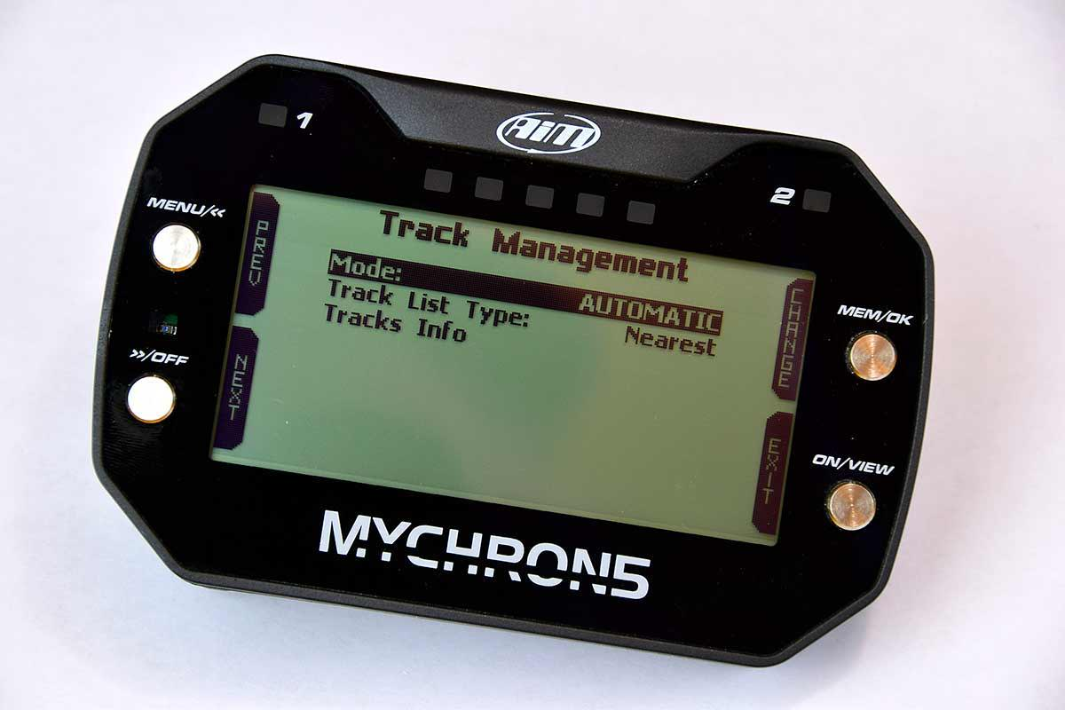 MyChron 5 Track Management Menu