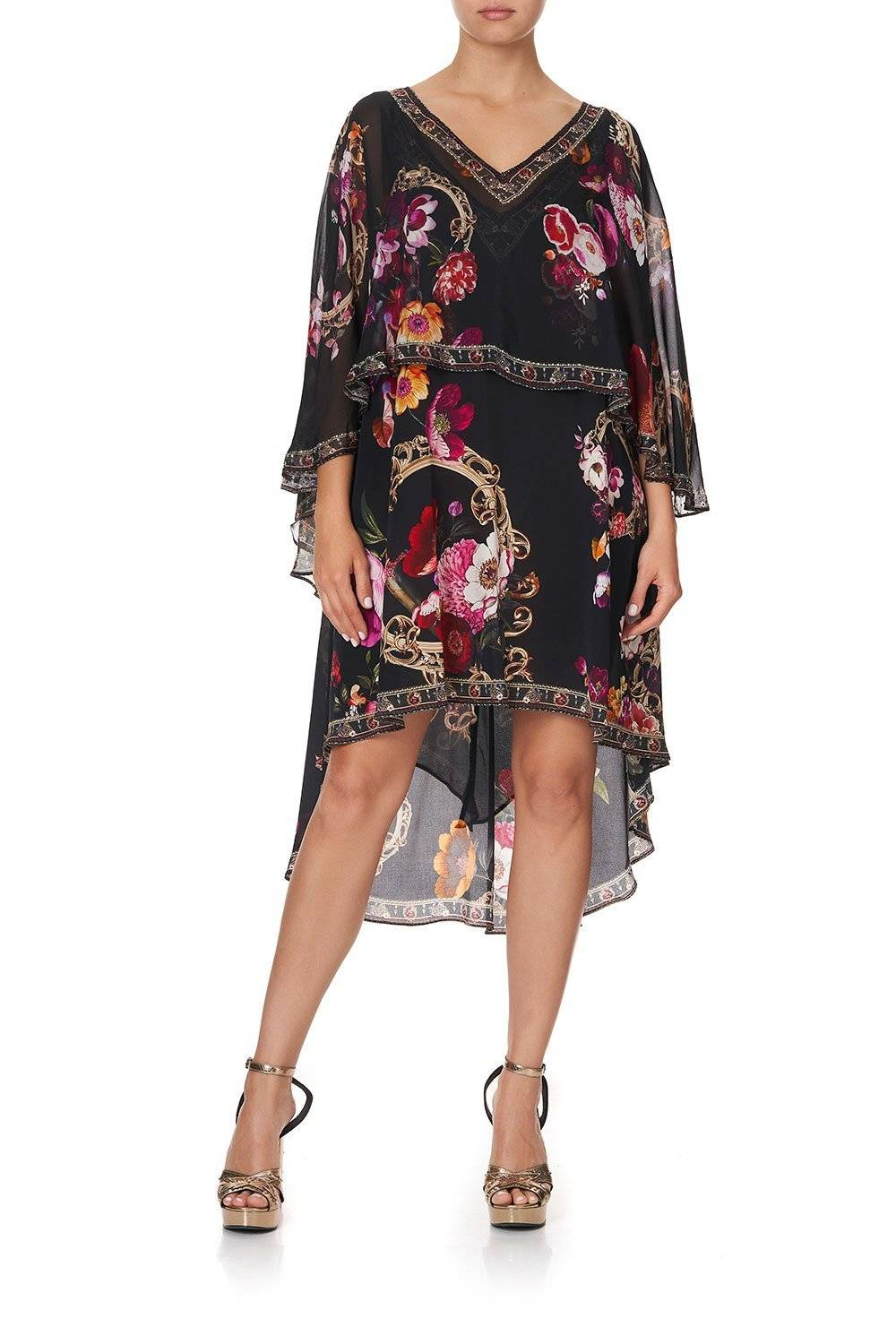 CAMILLA BLACK AND PINK FLORAL DRESS